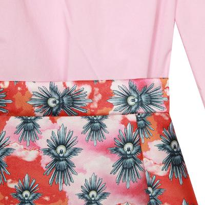 frill blouse & floral patterned skirt